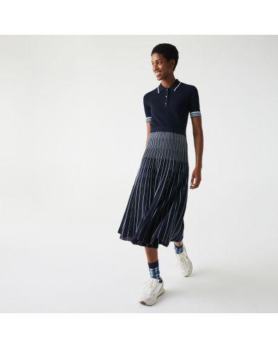 Ватное хлопковое плиссированное платье Lacoste
