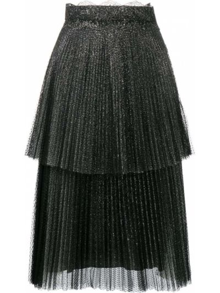 Плиссированная черная юбка миди из фатина Christopher Kane