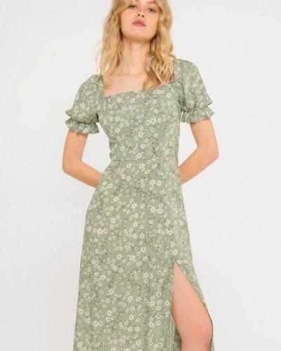 Прямое зеленое платье А-силуэта Shtoyko