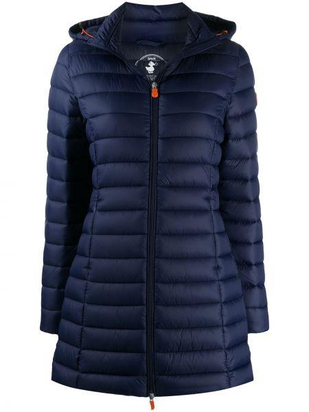Прямое синее пальто классическое с капюшоном Save The Duck