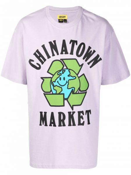 Fioletowa koszulka bawełniana Chinatown Market