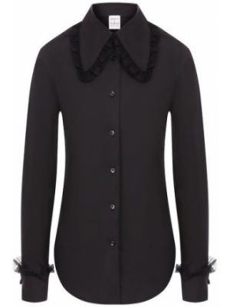 Хлопковая черная рубашка с оборками на каблуке Sara Roka