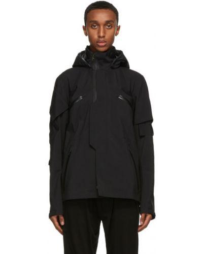 Czarna długa kurtka z kapturem z długimi rękawami Acronym