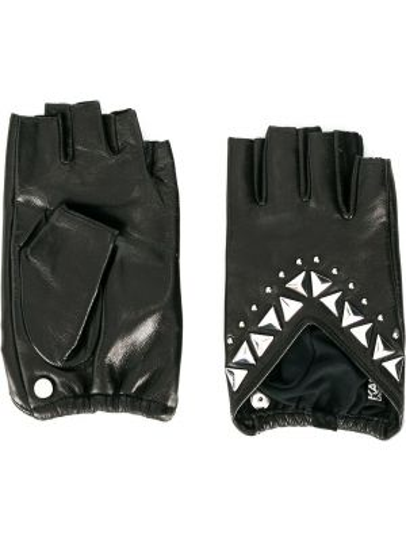 Кожаные перчатки без пальцев черные Karl Lagerfeld