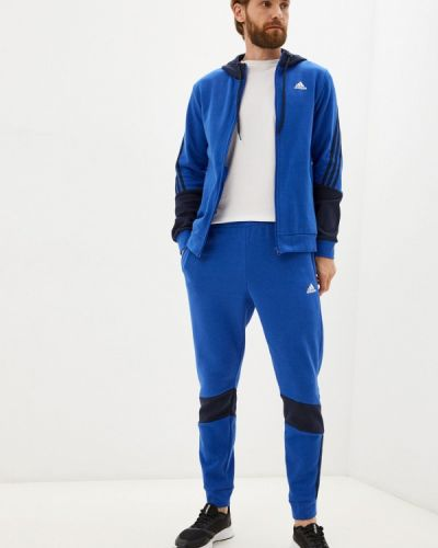 Синий зимний спортивный костюм Adidas