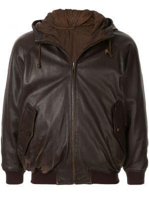 Коричневая нейлоновая куртка с капюшоном в рубчик на молнии Issey Miyake Pre-owned