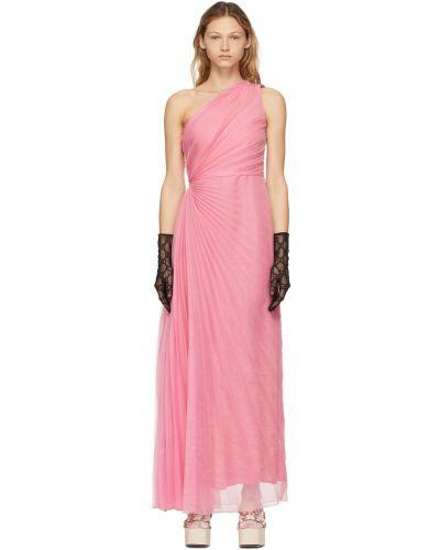 Шифоновое платье макси - розовое Gucci