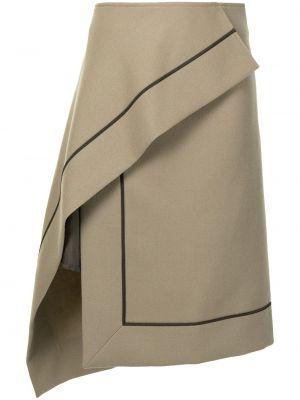 Шерстяная юбка миди - коричневая Sacai