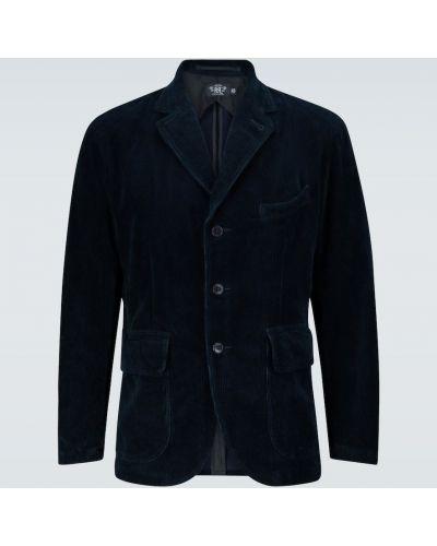 Синий спортивный пиджак на пуговицах с лацканами Rrl