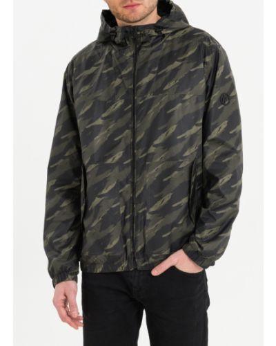 Прямая зеленая куртка с капюшоном Lab Fashion