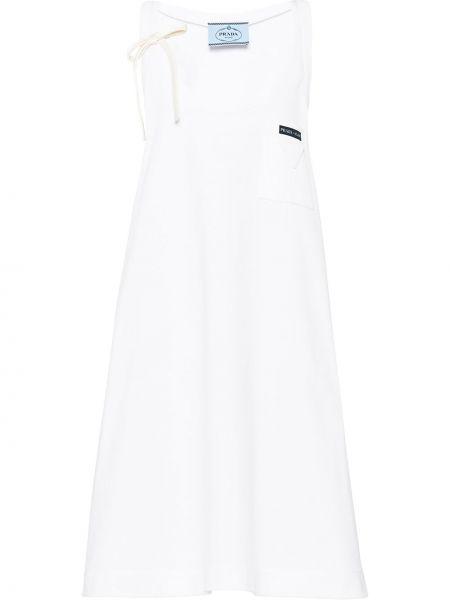 Хлопковое белое платье с вырезом с нашивками Prada