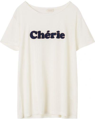 Белая футболка с надписью из вискозы Gerard Darel