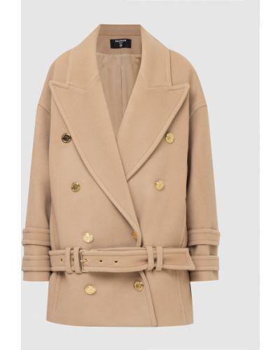 Бежевое кашемировое пальто Balmain