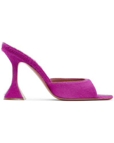 Розовые кожаные тапочки на каблуке Amina Muaddi