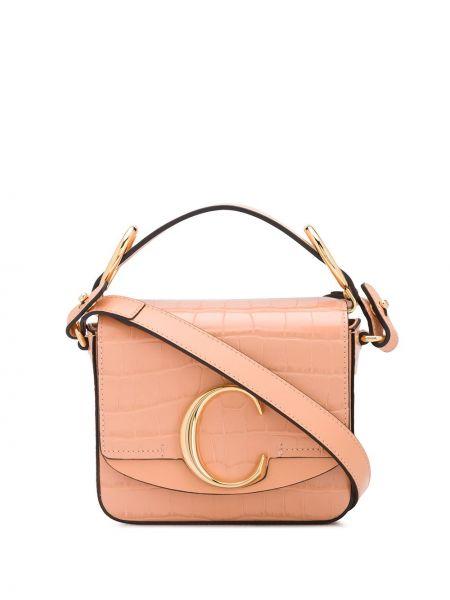 Skórzany pomarańczowy mini torebka z kieszeniami wytłoczony Chloe