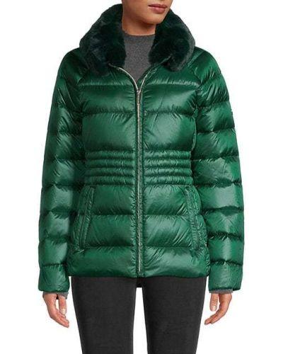 Стеганая длинная куртка из искусственного меха на молнии Michael Michael Kors