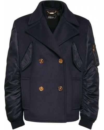 Шерстяное пальто двубортное с карманами Versace