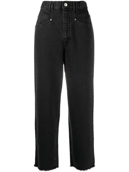 Bawełna bawełna jeansy na wysokości z kieszeniami z łatami Isabel Marant
