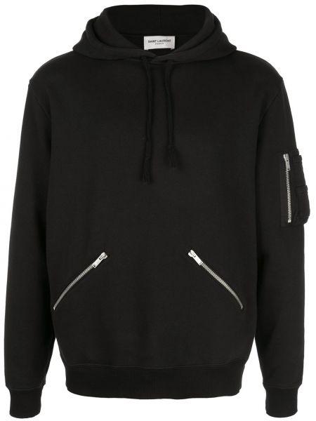 Czarna bluza z kapturem elegancka Saint Laurent