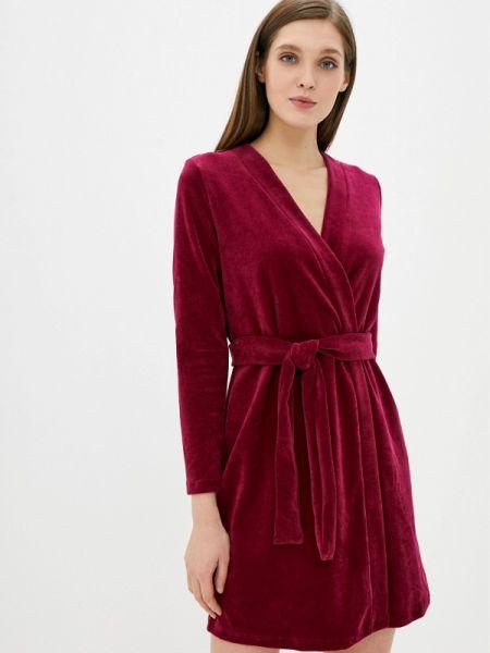 Красный домашний бархатный халат Tenerezza