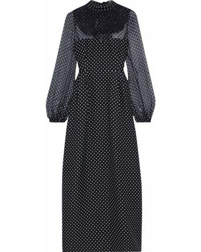 Кружевное шифоновое черное платье макси Valentino