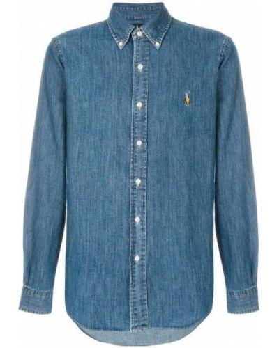 Niebieska koszula jeansowa z długimi rękawami Ralph Lauren