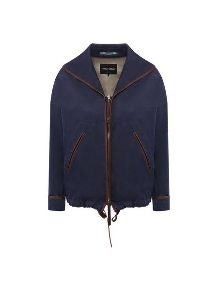 Кожаная синяя куртка с декоративной отделкой Giorgio Armani