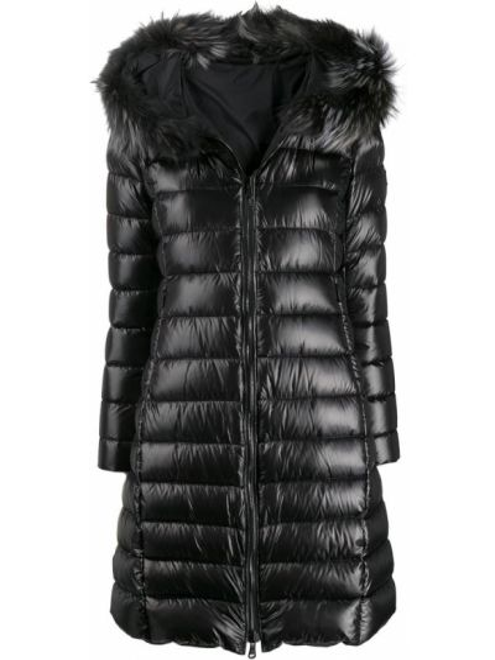 Черное пуховое длинное пальто с капюшоном Tatras