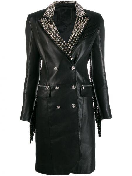 Кожаное пальто - черное Philipp Plein