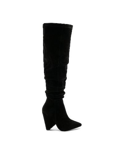 Ботинки на каблуке черные замшевые Raye