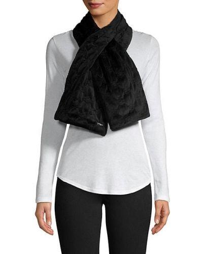 Стеганый бархатный черный шарф Karl Lagerfeld Paris