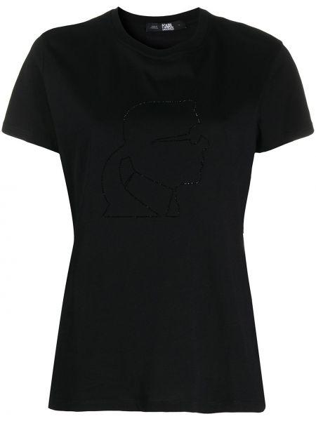Прямая с рукавами черная футболка Karl Lagerfeld