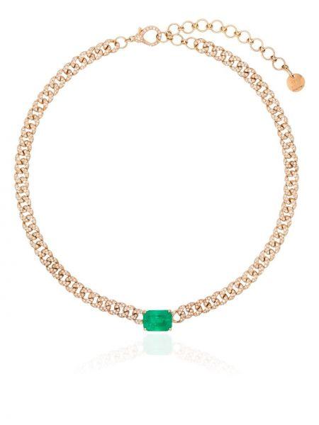 Золотистое ожерелье золотое с изумрудом Shay