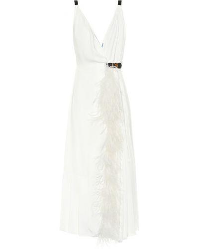 Вечернее платье шелковое с перьями Prada