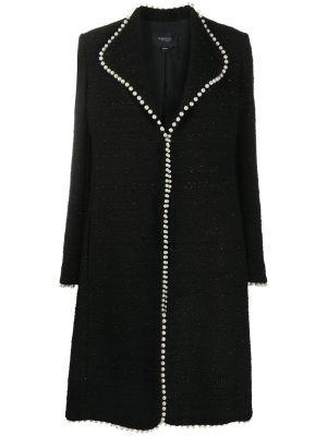 Черное длинное пальто с лацканами с жемчугом Giambattista Valli