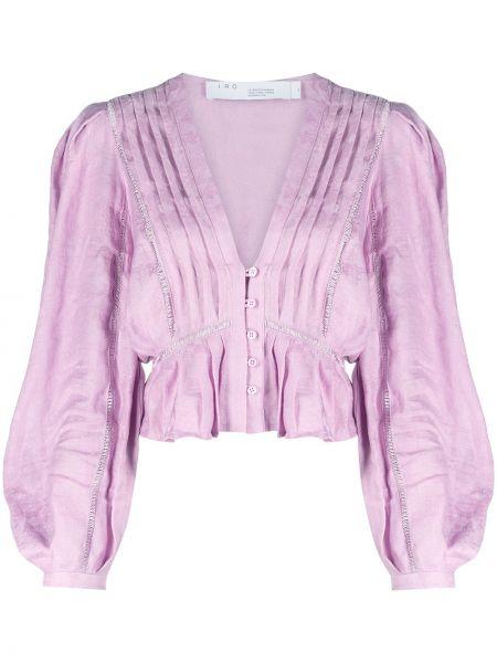 Льняная сиреневая блузка с V-образным вырезом Iro