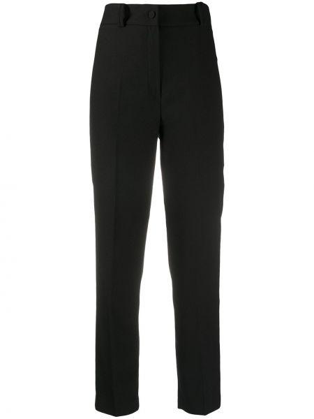 Черные прямые брюки с высокой посадкой Hebe Studio