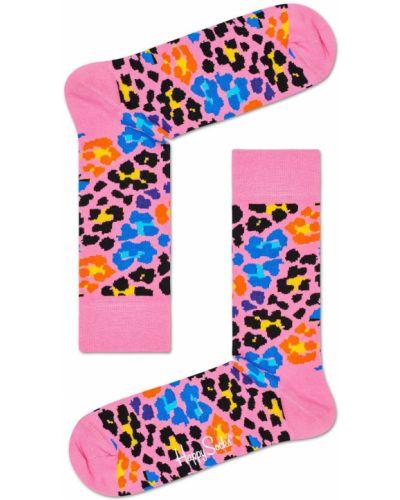 Колготки с узором розовый Happy Socks