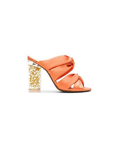 Оранжевые мюли на каблуке Raye