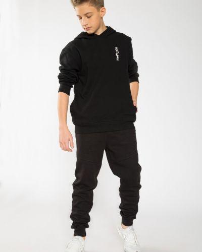 Черные спортивные брюки с карманами на молнии Reporter Young