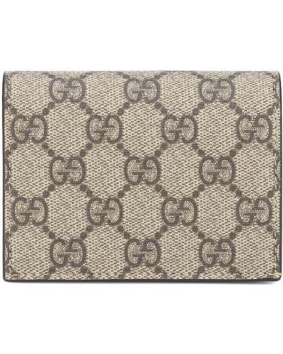 Bawełna brązowy portfel skórzany z prawdziwej skóry Gucci