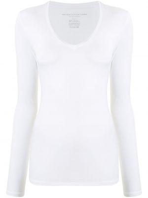 Белая рубашка с V-образным вырезом из вискозы стрейч Majestic Filatures