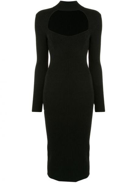 Черное нейлоновое приталенное платье миди с воротником Manning Cartell