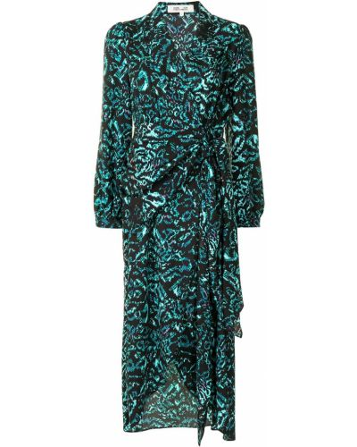 Czarna sukienka długa z długimi rękawami z printem Dvf Diane Von Furstenberg