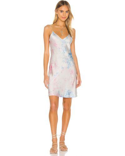 Niebieska satynowa sukienka mini Dannijo