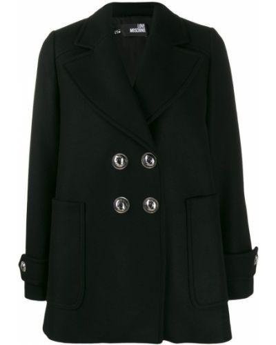 Длинная куртка черная серебряная Love Moschino