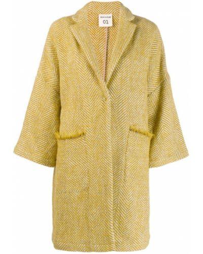 Прямое шерстяное белое пальто Semicouture
