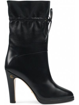 Ze sznurkiem do ściągania czarny buty na pięcie na pięcie z prawdziwej skóry Gucci