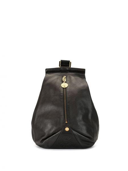 Золотистый черный рюкзак с карманами на молнии Versace Pre-owned