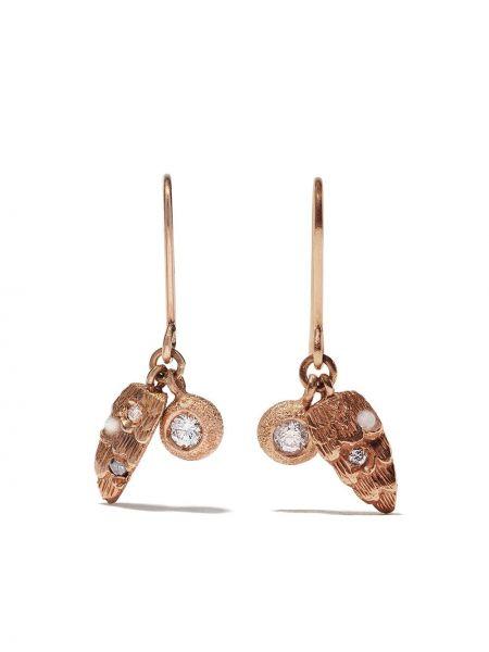 Розовые золотые серьги с подвесками на крючках с бриллиантом Carolina Bucci